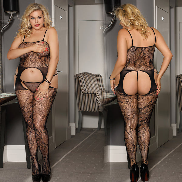 Black Sexy Plus Size Floral Fishnet Bodystocking Crotchless Body Stocking Black