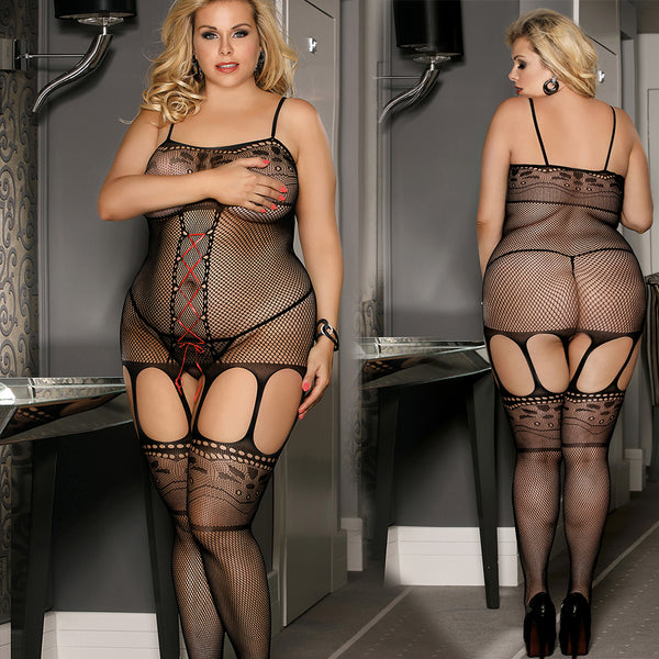 Sexy Plus Size Bodystocking Fishnet Satin Lace Up Crotchless Body Stocking by Discreet Moments Black - DM_H3157