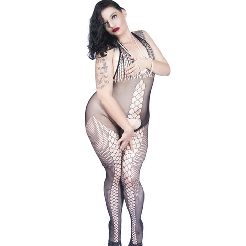 Sexy Plus Size Halter Fishnet - Bodystocking - Crotchless -  Body Stocking by Discreet Moments Black - DM_H3158P_B