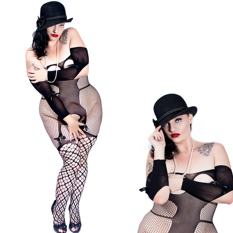 Sexy Plus Size Bodystocking Fishnet Satin Bow- Crotchless - Open Cup Cupless Body Stocking by Discreet Moments Black - DM_HH3159P_B