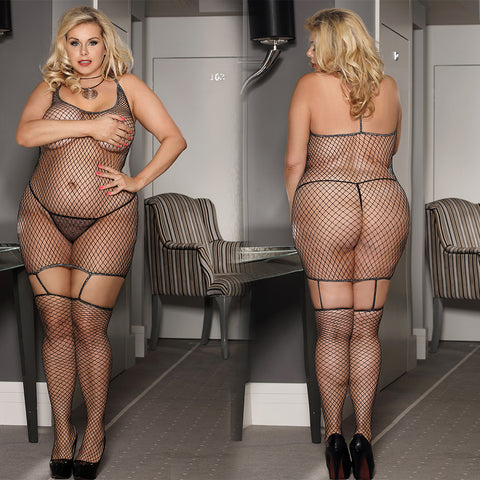 Black Sparkle Plus Size Fishnet Dress w attached Thigh High mini dress Black - DM_H3239