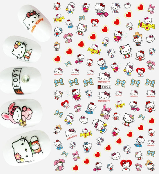 Hello Kitty Nail Stickers - Geek, Love, Heart, Bows, Planes over 50 Stickers Kawaii