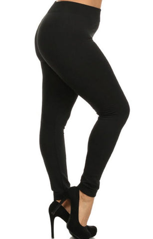 Plus Size Appeal:Woman's Buttery Soft Plus Size Black Fleece Leggings Gothic Punk Rock Rockabilly:Leggings:Plus Size Clothing