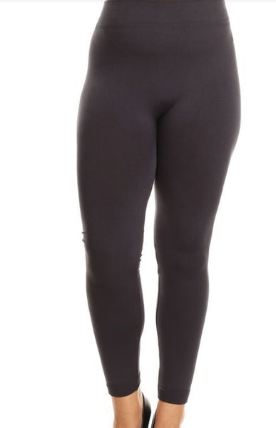 Woman's Buttery Soft Plus Size Gray Fleece Leggings Gothic Punk Rock Rockabilly