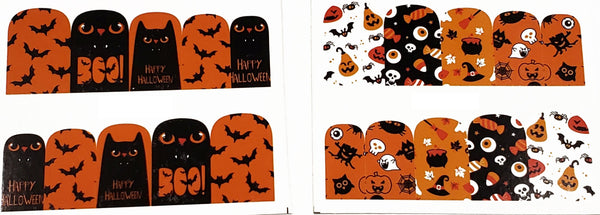 2 Full Sheet of Halloween Inspirde Water Nail Decals / Stickers - Pumpkins - Ghost - Candies - Owl - Bats