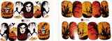 2 Full Sheet of Halloween Inspired Water Nail Decals / Stickers - Pumpkins - Skull - Orange - Bats