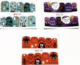 3 Full Sheet of Halloween Inspirde Water Nail Decals / Stickers - Pumpkins - Ghost - Candies - Owl - Bats - cats - skeleton