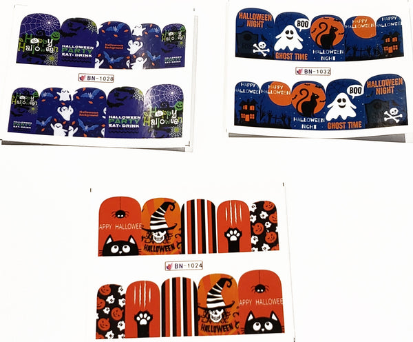 3 Full Sheet of Halloween Inspirde Water Nail Decals / Stickers - Pumpkins - Ghost - Crossbones - Owl - Cats