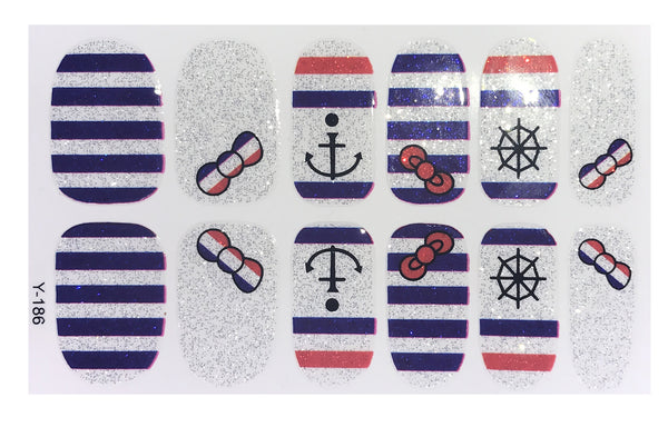 Full Set of 12 Glitter Stripes 4th of July Marine Navy Hello Kitty Inspired Bow Nail Wraps Decals Sticker -Kawaii  American Pride Sticker