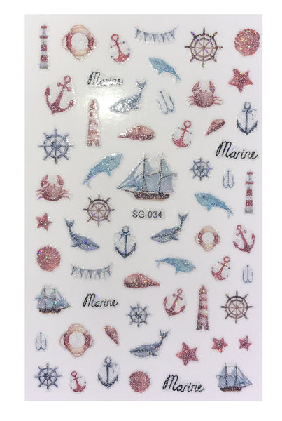 Over 50 Nautical Marine Life Inspired Glitter Nail Stickers for Summer Nail Art Lighthouse Anchor Shark Crabs SG-Series
