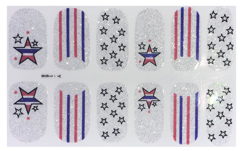 12 Silver Glitter Stars & Stripes 4th of July Marine Navy Inspired Nail Wraps Decals Sticker - American Pride Sticker