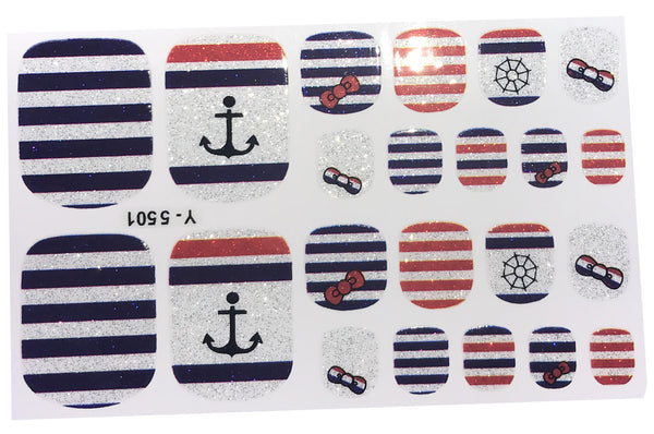 22 Glitter Nautical Navy Red White Blue Stripe Bow Toe Nail Wrap Decals Sticker Kawaii - 1 Sheet