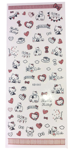 Over 50 Hello Kitty Nail Stickers for Nail Art - Bow Red - Hearts Airplane Banners Kawaii