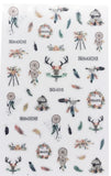 Over 50 Dreamcatcher deer feather Peaceful Boho Inspired Glitter Nail Stickers for Nail Art Bohemian SG-Series