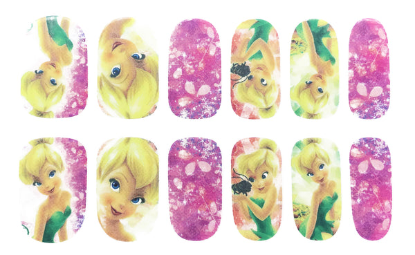 12 Pink Girly Fairy Tinker Bell Nail Wrap Decals Sticker Salon Quality Nail Art - 1 Sheet