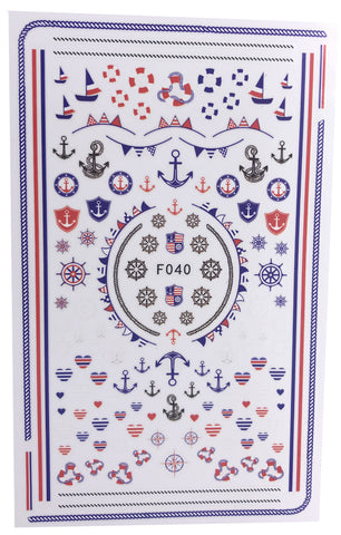 Boat Marine Inspired Nail Wraps with Anchor and hearts Decals Sticker - Red White Blue 4th of July