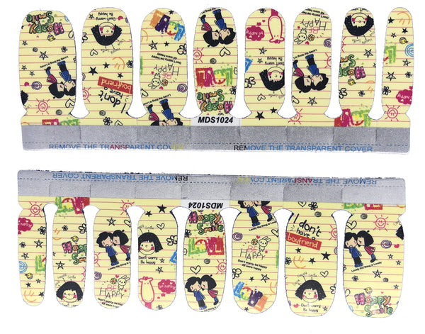 Don't Worry be Happy School Paper Doodle Inspired Nail Wrap Decals Sticker Salon Quality Nail Art - 1 Sheet