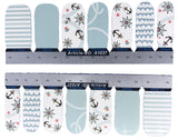 Marine Inspired Nail Wraps with Anchor Waves Stripes Decals Sticker Summer Nails