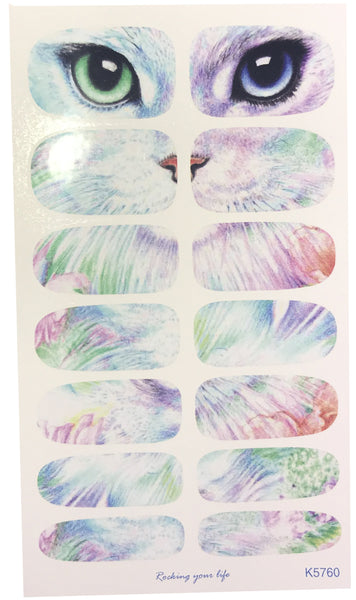 14 Super Chic & Classy Cat and Cat Eyes Nail Wrap Decals Sticker Salon Quality Nail Art - 1 Sheet