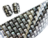 Skull Foil Glitter for Nails Punk Gothic Rockabilly Water color SKULL Nail Wrap Decals Sticker Salon Quality Nail Art - Great for Halloween! 1 Sheet
