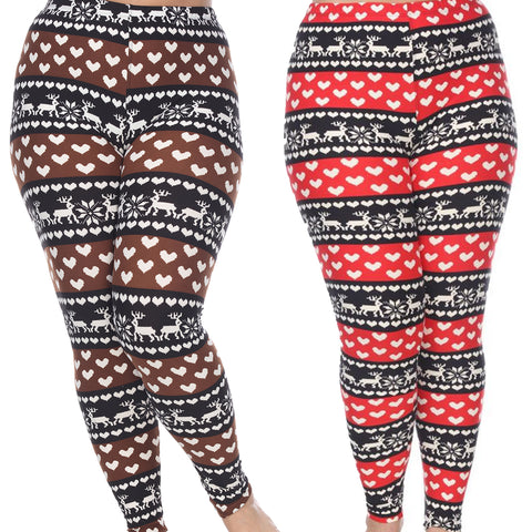 Woman's Plus Size Leggings with Deer - Snowflakes - Hearts - Love of Winter Wonderland Inspired Leggings