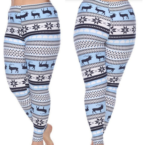 Trendy Woman's Plus Size Leggings with Deer and Snowflakes - Winter Wonderland Inspired Leggings