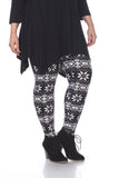 Trendy Woman's Plus Size Leggings Black White SnowFlakes Snow winter Leggings