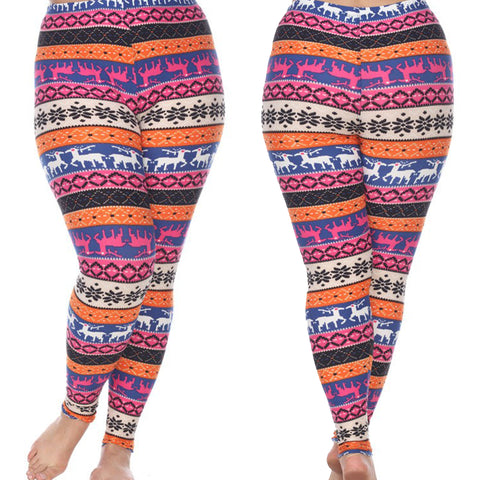 Fun & Bright Woman's Plus Size Leggings with Deer and Snowflakes - Winter Wonderland Inspired Leggings