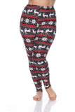 Woman's Plus Size Leggings with Deer & Snowflakes - Winter Wonderland Inspired Leggings