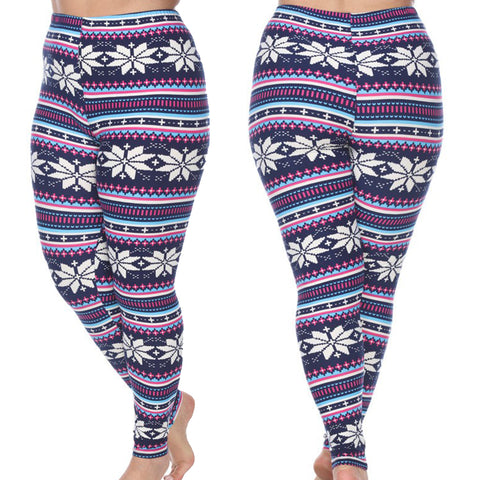Trendy Woman's Plus Size Leggings - White SnowFlakes Snow winter Leggings