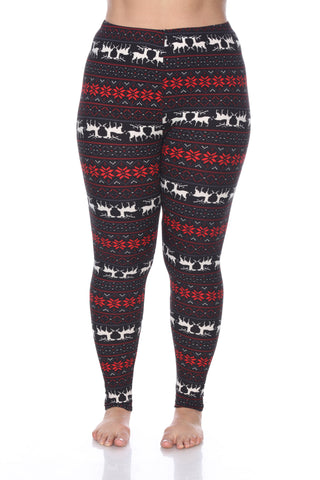 Plus Size Leggings with Deer & Snowflakes - Winter Wonderland Inspired Leggings
