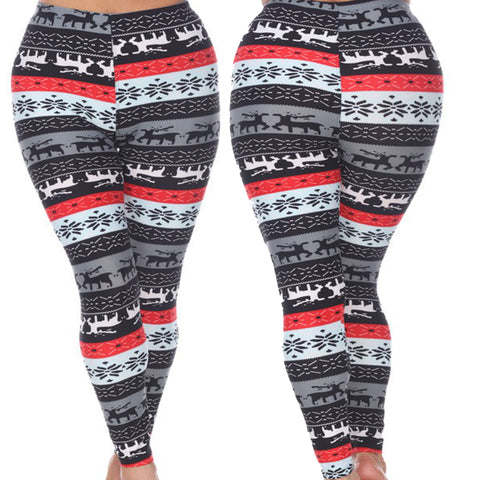 Woman's Plus Size Leggings with Deer and Snowflakes - Winter Wonderland Inspired Leggings