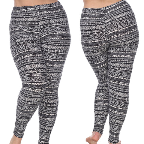 Plus Size Leggings with Tribal and Aztec Diamonds Print  Black and White