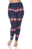 Pink Woman's Plus Size Leggings with Deer & Checkers - Winter Wonderland Inspired Leggings