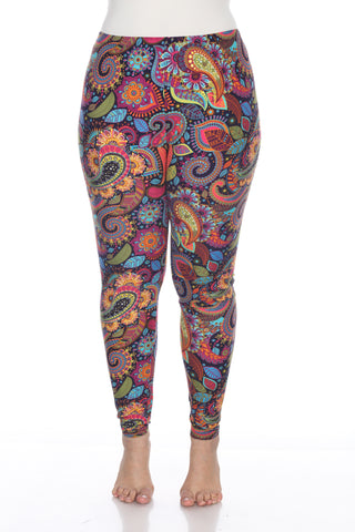 Vibrant Plus Size Printed Leggings Paisley Floral Queen Plus 1X 2X 3X Pink Turquoise Mandala