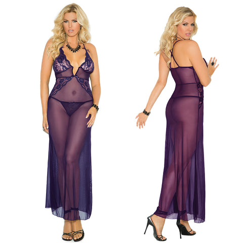 Plus Size Appeal:Elegant Women's Plus Size Deep V Mesh Gown with Lace Inserts Elegant Moments 1961X:lingerie:Plus Size Clothing