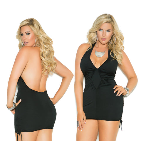 Women's Plus-Size Queen Size Deep-V Halter Neck Mini Dress Elegant Moments 8252X