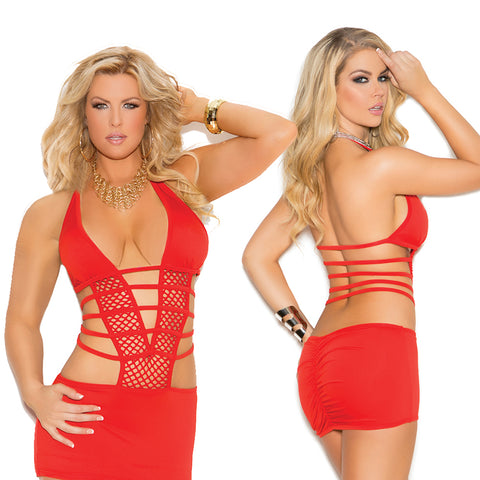 Plus Size Appeal:Sexy Plus Size Deep V Lycra & Net Halter Neck Ruched Back Mini Dress Elegant Moments 8321X:Clubwear:Plus Size Clothing