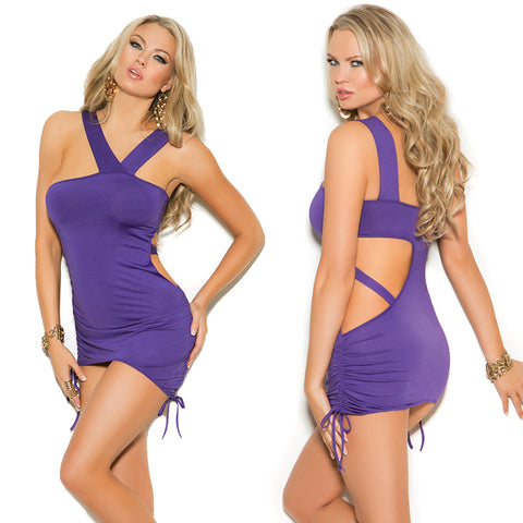 Plus Size Appeal:Sexy Plus Size Purple Asymmetrical Mini Dress Elegant Moments EM-8337X:Clubwear:Plus Size Clothing