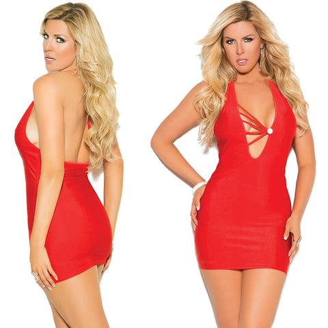 Plus Size Appeal:Sexy Plus Size Stretch Satin Halter Rhinestone Mini Dress Elegant Moments 8338X:Lingerie:Plus Size Clothing