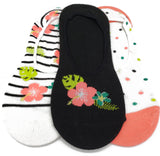 Flower Cute Novelty Design Ultra Low no Show Socks - Shoe Liners Black Pink White Green