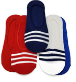 6 pair Cute Novelty Design Ultra Low no Show Socks 3 Solid 3 Stripe - Shoe Liners 4th of July - Red - Blue - White - Navy