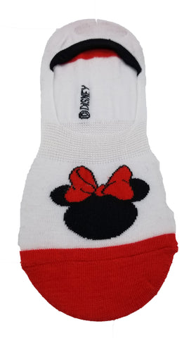 Cute Novelty Design Minnie Mouse w Bow Ultra Low no Show Socks - Shoe Liners Black Red White