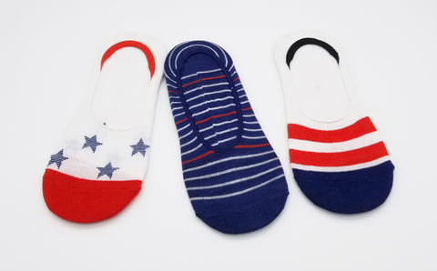 Star & Stripes Novelty Cute Design Ultra Low no Show Socks - Shoe Liners 4th of July - Red - White - Navy