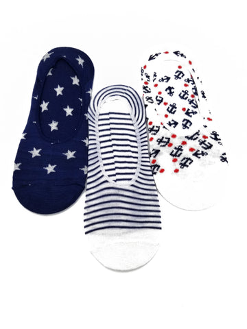 Anchor & Stripes Novelty Cute Design Ultra Low no Show Socks - Shoe Liners 4th of July - Red - White - Navy