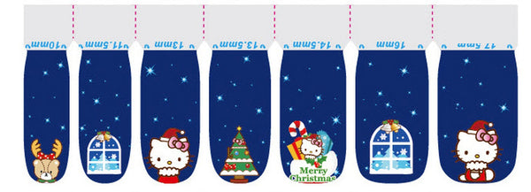 Merry Christmas Hello Kitty Nail Wraps Navy, Deer, Christmas Tree Pink Bow Decals Sticker - American Pride Sticker