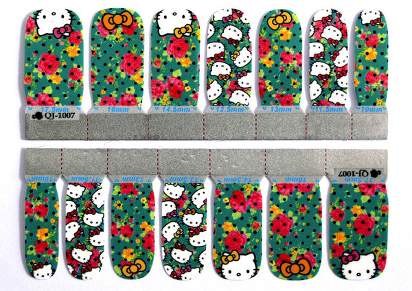 Hello Kitty Nail Wraps Black polka dots with some Bold flowers - Summer Inspiration - Kawaii