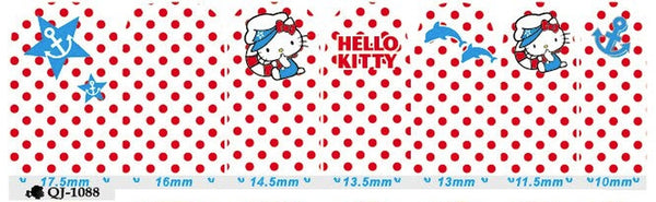 4th of July Hello Kitty Nail Wraps White polka dots dolphin, Anchor Decals Sticker - American Pride Sticker