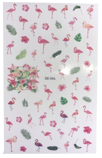 Over 50 Tropical Flamingo Summer Life Inspired Nail Stickers Palm Trees Hibiscus Flower Pink Green