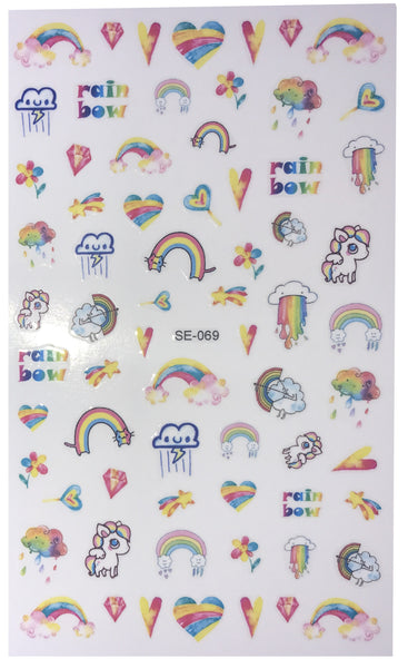 Over 50 Rainbow and Cute Unicorn Nail Sticker Heart Pride Diamonds Pink Salon Quality Nail Art - Nail Decals
